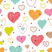 Cute seamless pattern with hearts for Valentine's day. — Vector de stock