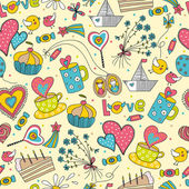 Cute seamless pattern.Love by Saint Valentine's day. — Vector de stock