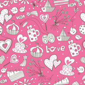 Romantic vector seamless pattern. — Stock Vector