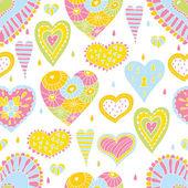 Romantiska seamless mönster med hjärtan. — Stockvektor