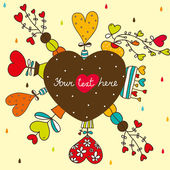 Cute postcard about love. — Stockvector