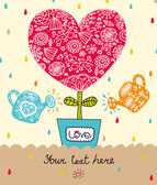 Sweet heart. Postcard for St. Valentine's day. — Stok Vektör