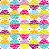 Seamless pattern with bright circles and hearts — Stok Vektör