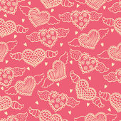 Romantic seamless pattern with hearts. — 图库矢量图片