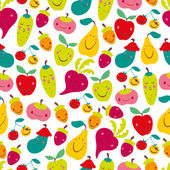 Children's seamless pattern with vegetables and fruit. — Stock Vector