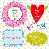 ここであなたのテキストを配置します。鳥と心のかわいい花. — ストックベクタ