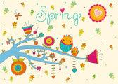 春の花とフクロウはがき. — ストックベクタ