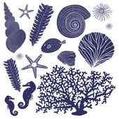 Vector set of marine elements. — ストックベクタ