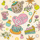 Cute vector seamless pattern:tea, coffee,sweets. — Stock Vector