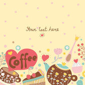 Sweetheart postcard about coffee and sweets — Stock Vector