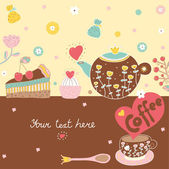 Sweetheart postcard with sweets and coffe. — Stock Vector