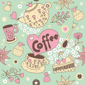 Cute vector seamless pattern: tea, coffee,sweets. — Stock Vector