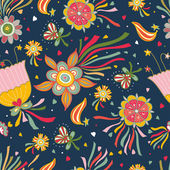Flying flowers. Seamless pattern. — Stockvektor
