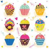 Vintage cupcake set. — Stock Vector