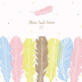 Cute postcard with feathers. — Stockvector