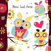 Bloemen en uilen briefkaart — Stockvector