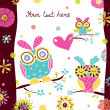 Postcard with cute owls. — Stock Vector #47013615