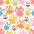Vector seamless pattern with owls. — Stock Vector #47013617