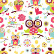 Vector seamless pattern with owls. — Stock Vector #47013619