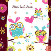 Postcard with cute owls. — Stock Vector