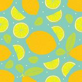 Seamless pattern of  lemon — Stock Vector