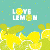 Postcard with lemons. — Stock Vector
