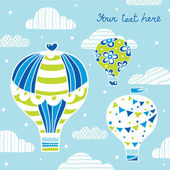 Postcard with hot air balloons — Vetorial Stock