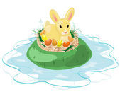 Easter Bunny on the Island — Stock Vector