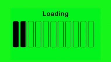 Loading bars horizontally - green screen effect — Vídeo Stock