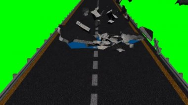 Street destruction - green screen — Stock Video