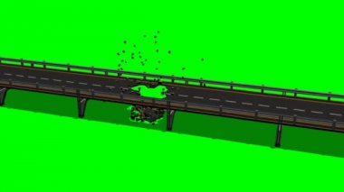 Bridge roadway destruction - green screen effect — Stock Video