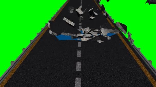écran de destruction rue - vert — Vidéo
