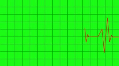 Heartbeat lines animation - greencreen effect — Stock Video