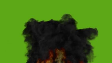 Fire with strong dark smoke - green screen — Stock Video