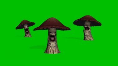 3 angry big brown mushrooms appear and die on green screen — Stock Video