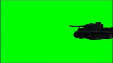 Vojenské obrněné bojové vozidlo v jízdě na zelené obrazovce — Stock video