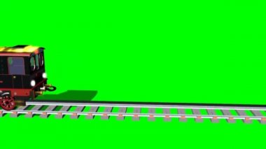 Cartoon train on tracks - various trips - green screen — Stock Video