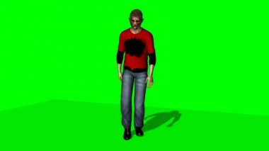 Zombie goes - green screen — Stock Video