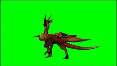 Dragon walks - green screen — Stock Video