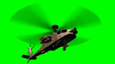 Military Helicopter Boeing AH-64 Apache in fly - green screen — Stock Video