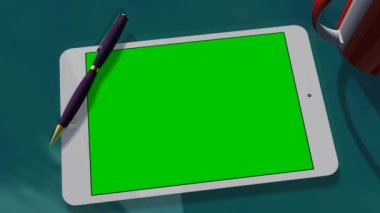 Tablet PC Pad Green Screen for Advertisement Presentation — Wideo stockowe