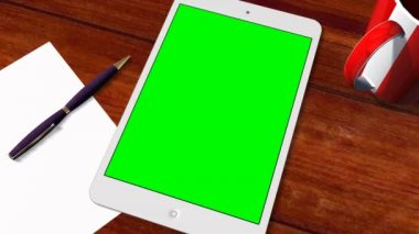 Tablet PC Pad Green Screen for Advertisement Presentation — Stock Video