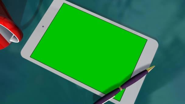 Tablet Pc Pad verde pantalla de presentación del anuncio — Vídeo de stock