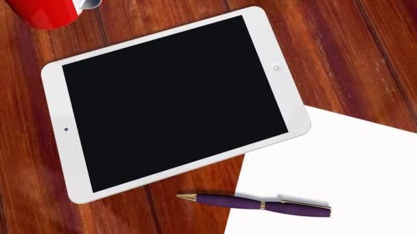Tablet PC Pad Green Screen for Advertisement Presentation — Vidéo