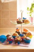 Decorated Cupcakes on a cake stand. — Stock Photo