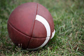 American Football On Grass Field — Stock Photo
