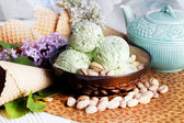 Pistachio ice cream — Stock Photo