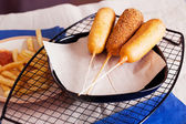 Korndog with french fries — Stock Photo