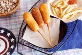Korndog with french fries — Stok fotoğraf