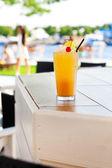 Cocktail with orange and cherry — Stok fotoğraf